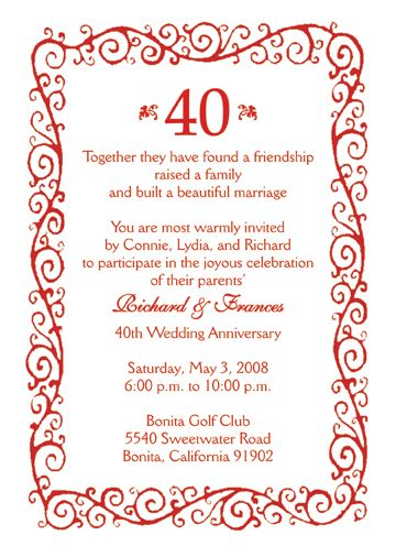 25 Personalized 40th Wedding Anniversary Party Invitations AP002