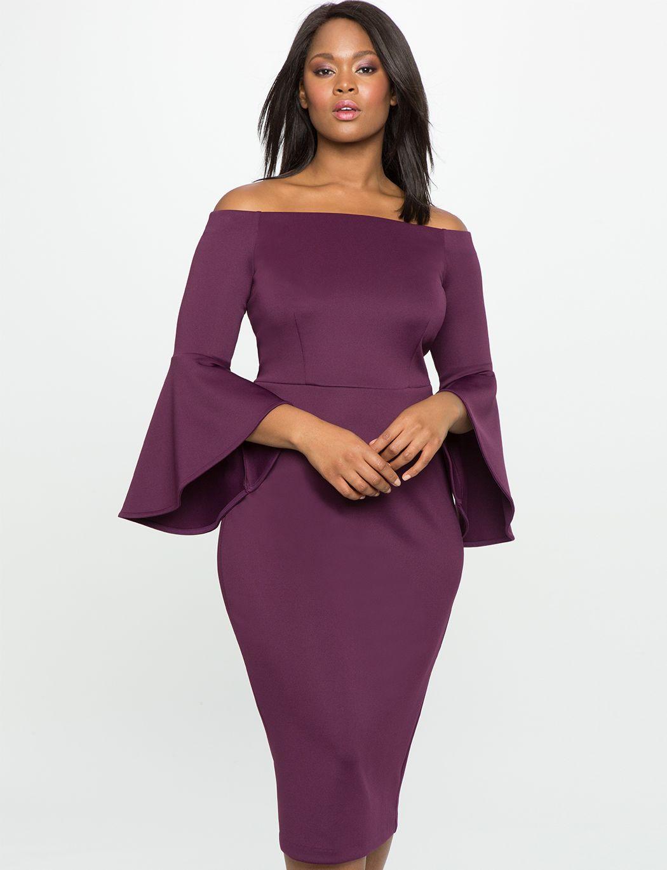 Studio off the shoulder flare sleeve dress womenus plus size
