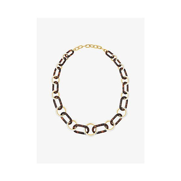 Michael Kors Gold-Tone Tortoise Acetate Link Necklace (6 805 UAH) ❤ liked on Polyvore featuring jewelry, necklaces, michael kors jewelry, tortoise shell statement necklace, bib statement necklace, tortoiseshell necklace and toggle clasp necklace