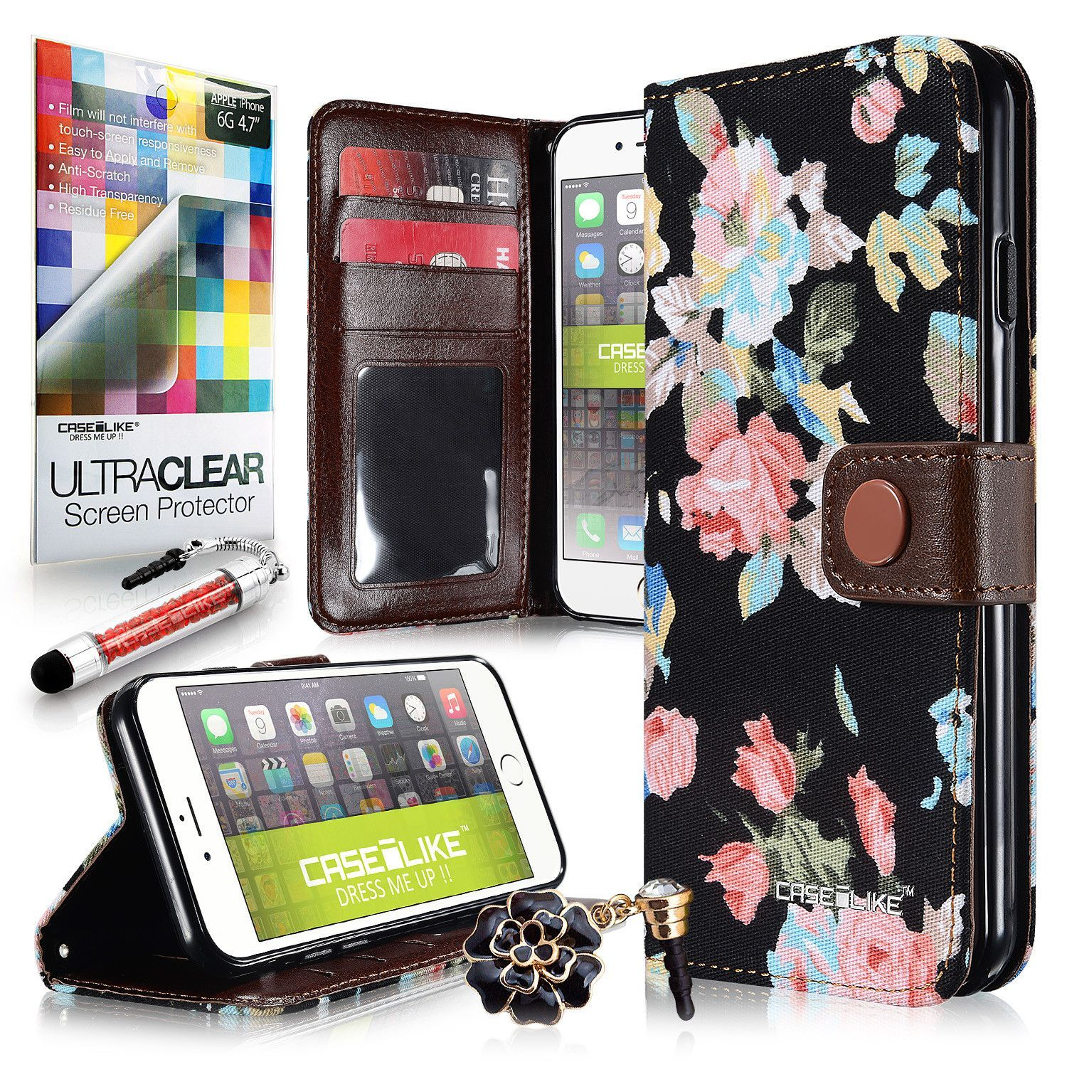 USD $8.99 Black Elegant Rose Floral Pattern Canvas 2228 Magnet Wallet Credit Card Holder Flip Case Cover for Apple iPhone 6