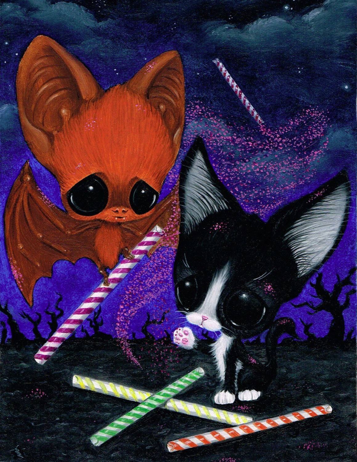 Sugar Fueled Pity Kitty Cat Kitten Bat Sweets Desserts Pop Etsy Big Eyes Art Big Eyes Art