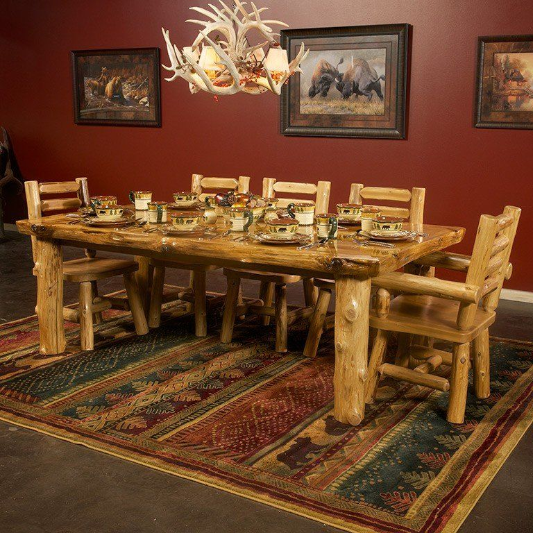 The Solid Wood Cedar Dining Table With Skirt Is Made From Northern