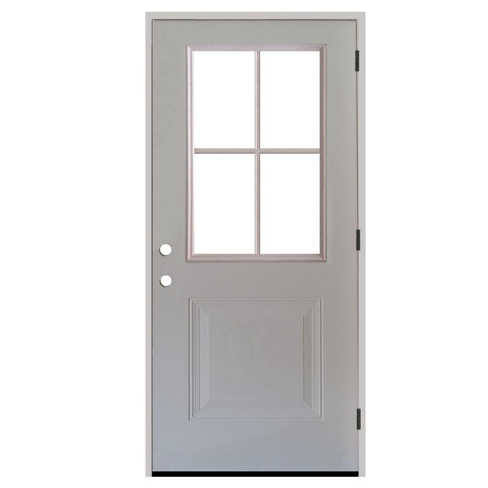 Steves Sons 32 In X 80 In Premium 4 Lite 1 Panel Primed White Steel Prehung Front Door With 4 In Wall S21h 4lp 32 4l0 Front Door Hardware Steel Entry Doors Exterior Doors