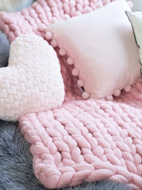 Chunky Knit Blanket Pink Chunky Knit Throw Pink Blanket