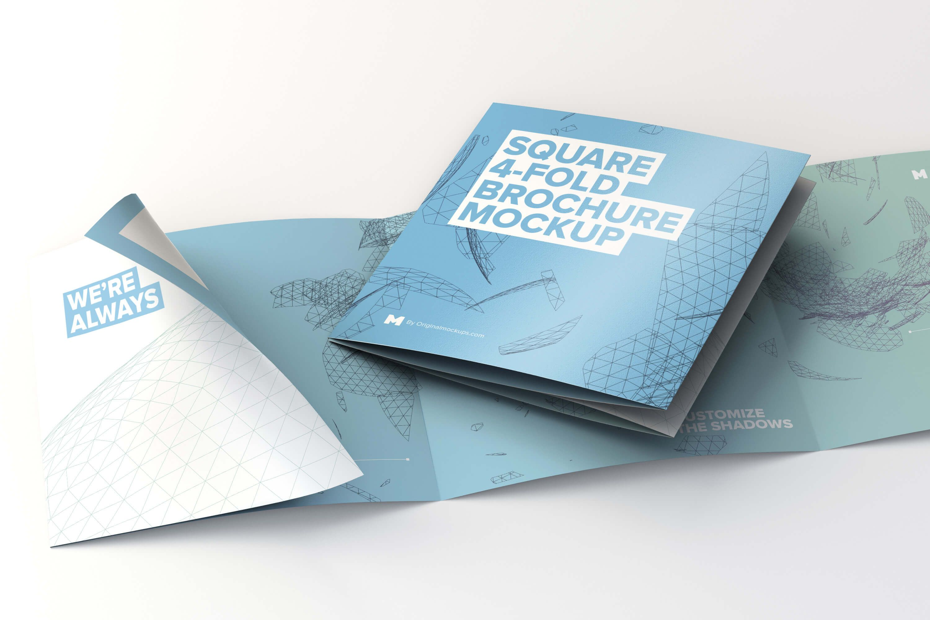 folded and unfolded square 4 fold brochure mockup by original