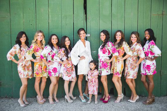 Mix Matched Bridesmaids Robes Kimono Crossover Robe Perfect bridesmaids gift, getting ready robes, Bridal shower favors, Wedding photo prop