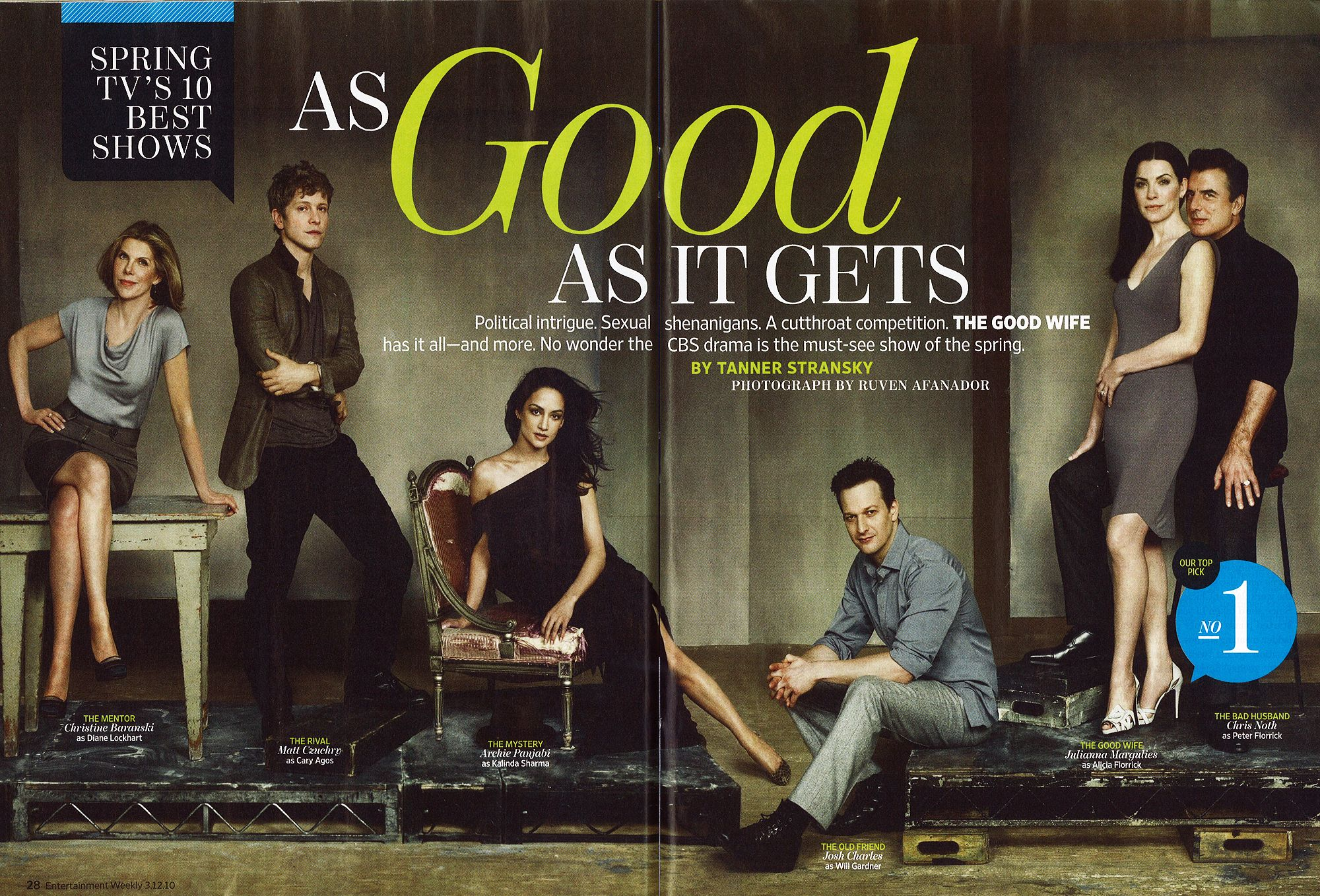 this has to the best ensemble cast on tv today.  Extra love though for Archie Panjabi, Josh Charles and Julianna Margulies