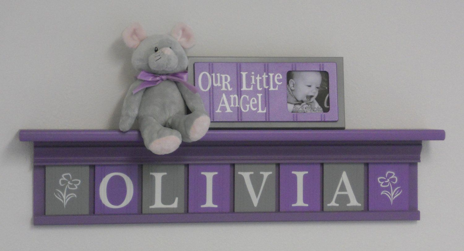Grey And Purple Nursery Name Letters Baby Decor By Nelsonsgifts