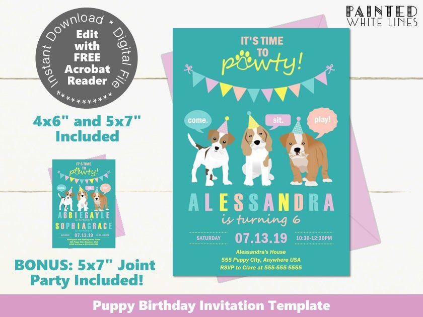 Puppy Dog Invitation Template Download Dog Party Invitation Etsy Dog Birthday Party Invitations Dog Party Invitations Dog Themed Parties