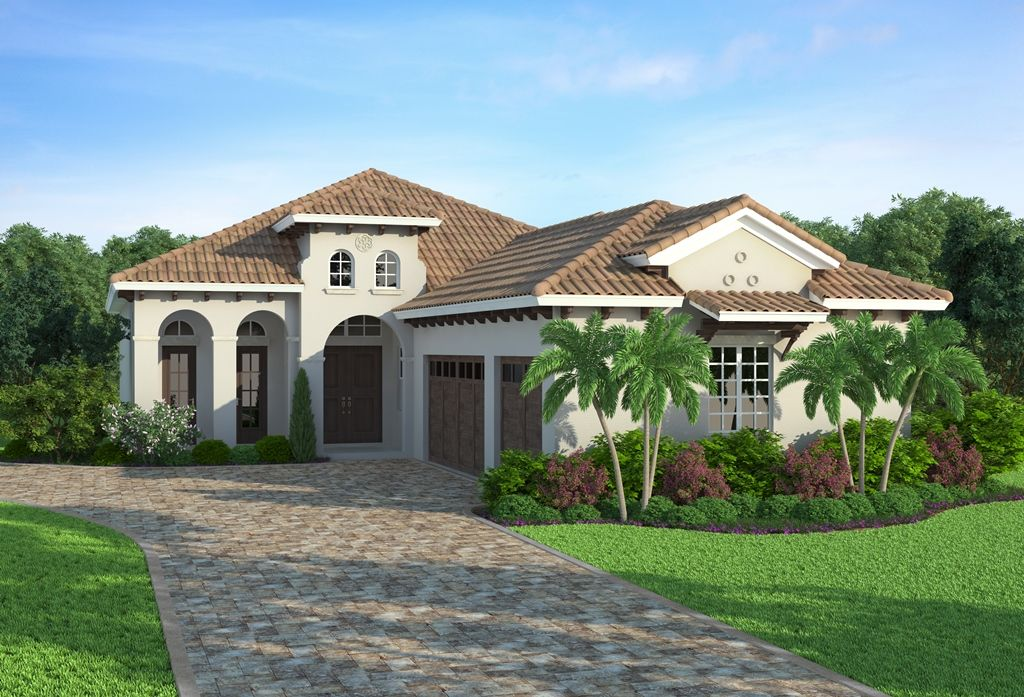 San nicola by south florida design is a 1 story for House plans 3 car garage narrow lot