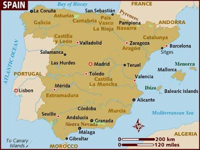 Map of Spain   maps   Pinterest   Spain  Iberian peninsula and Portugal Map of Spain