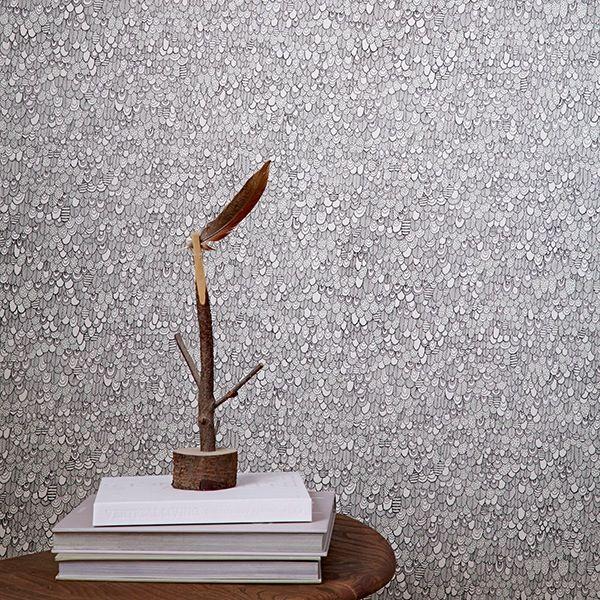 Bird Wallpaper – Monochrome by Abigail Edwards