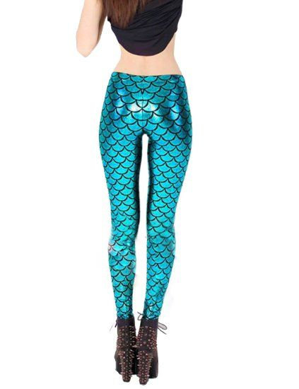 78bcc4caffc619 Amazon.com: Pink Queen Blue Fish Scale Mermaid Print Leggings Skinny  Stretchy Tights Pants: Clothing