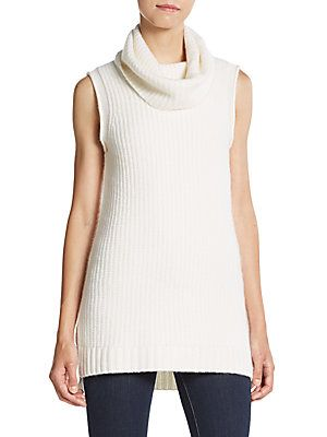 2856f10b105948 Cashmere Saks Fifth Avenue Sleeveless Cowlneck Cashmere Sweater ...