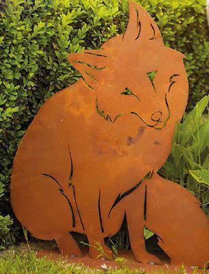 Gartenstecker Beetstecker Lieber Fuchs 56 Cm Metall Rost Gartenfigur Gartendeko Origami Ideen 2019 2020 Gartenfiguren Gartenstecker Kunst Aus Metall
