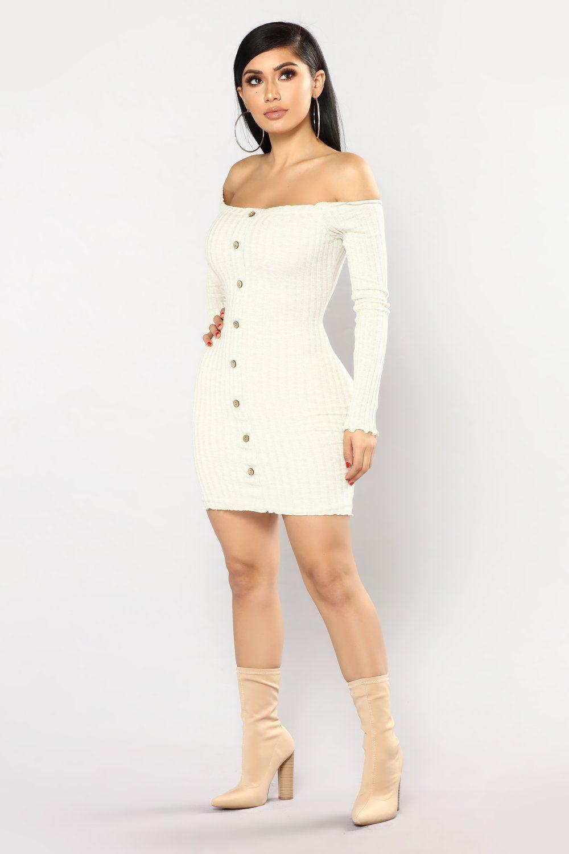8aeb2353d9fc Jacklyn Off Shoulder Mini Dress - Oatmeal