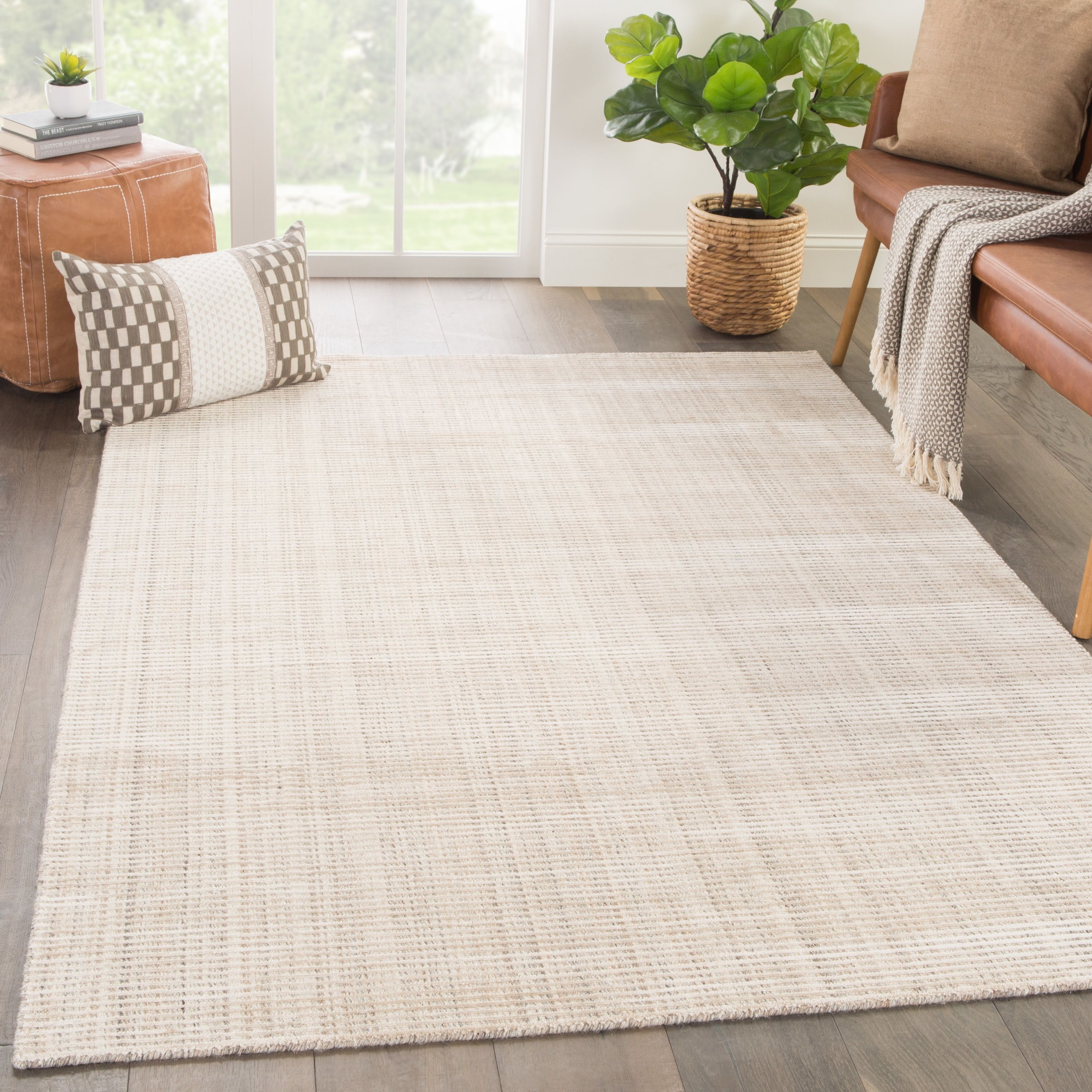 Phase Handmade Solid Ivory Beige Area Rug 10 X 14 10 X14