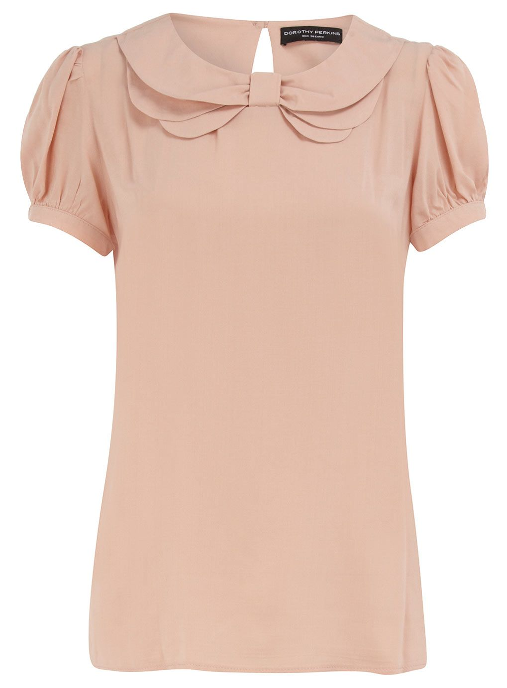 blush bow collar top from Dorothy Perkins