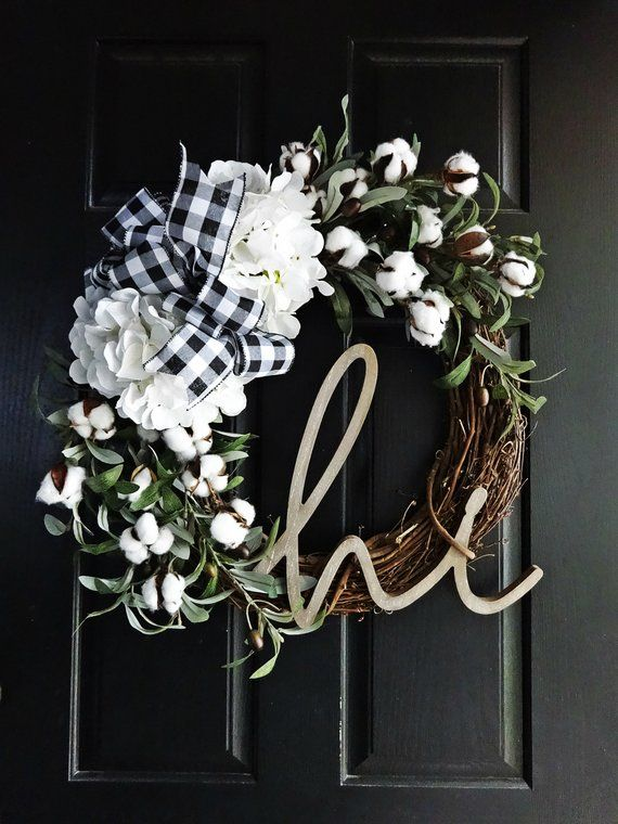 Photo of Buffalo Plaid and Cotton Wreath, Fall Wreath, Winter Wreath, Gift Wreath, Hi Sign, Olive Wreath, Hydrangea Wreath