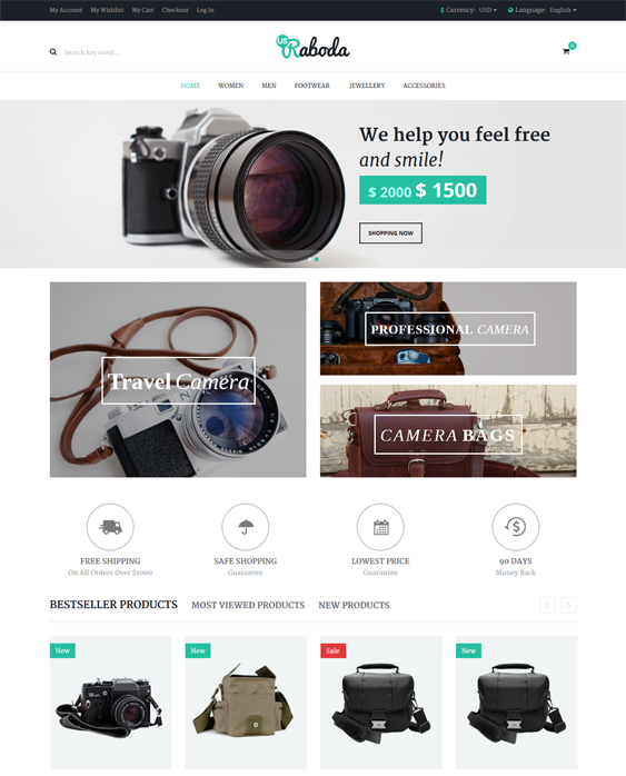 This minimal Magento theme has a responsive layout, one