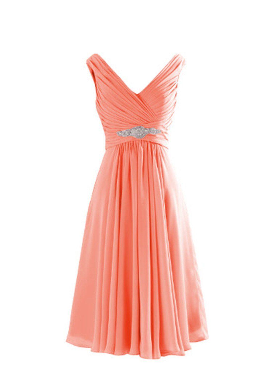 Yougao womenus v neck aline knee length chiffon dresses amazon