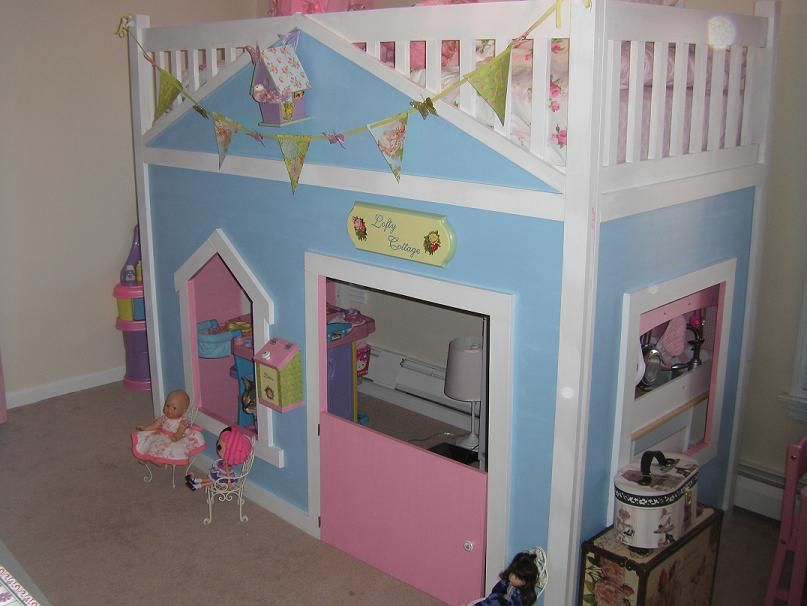 Finished playhouse loft bed kids daughters for Princess bed blueprints
