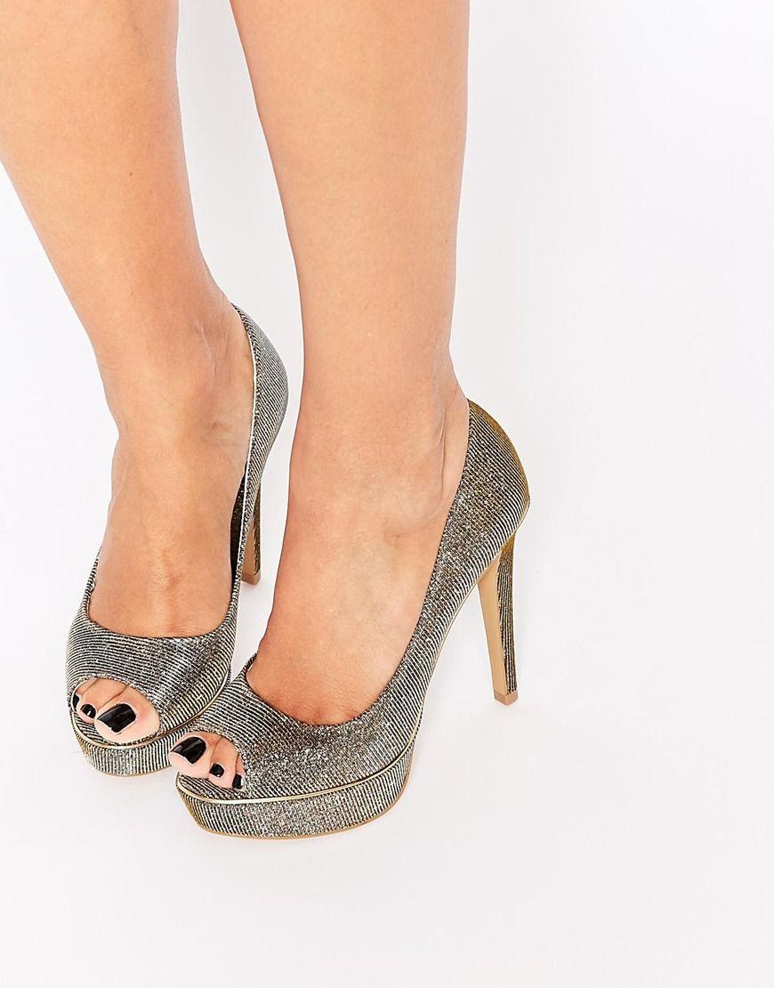 Buy Women Shoes / Dune Daviner Gold Metallic Thread Platform Peep Toe Sandals