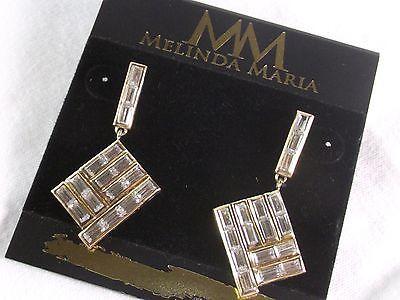 NEW Fashion Jewelry 14kt Melinda Maria Crystal Earrings Pyramid Olivia NWT Gold - http://elegant.designerjewelrygalleria.com/oliva/new-fashion-jewelry-14kt-melinda-maria-crystal-earrings-pyramid-olivia-nwt-gold-4/