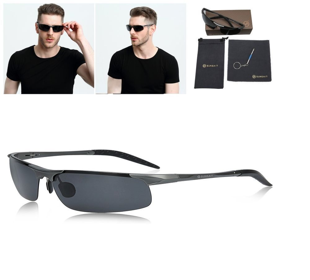 a4c36b21da Men s HD Polarized Sunglasses for Driving Fishing Sports Metal Frame SUNGAIT  NEW  SUNGAIT  mens