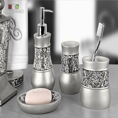 Bathroom Accessory Sets Brushed Nickel Luxury Set 4 Piece Silver