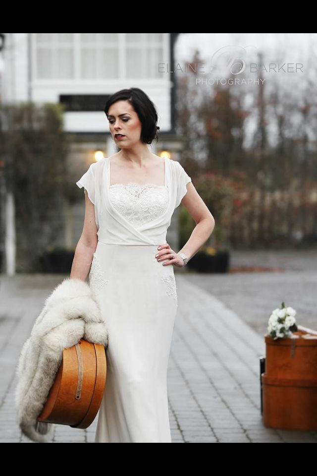Suitcase and train station vintage 1920s style wedding dress and ...