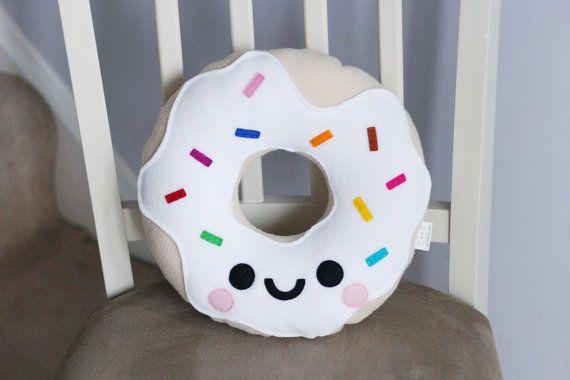 White Vanilla Donut Fleece Cushion Kawaii Plushie Travel Pillow Kids Room Decor Cute Pillows Plush Pillows Pillows