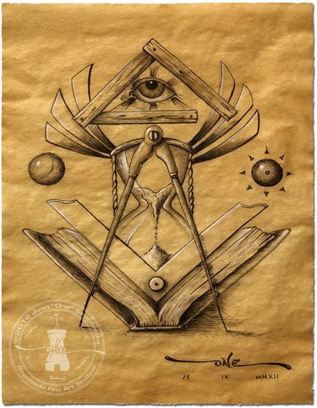 Light of Time  Masonic Drawing depicting symbols related to time Handembellished Signed and Numbered Limited Edition Giclee on Canvas