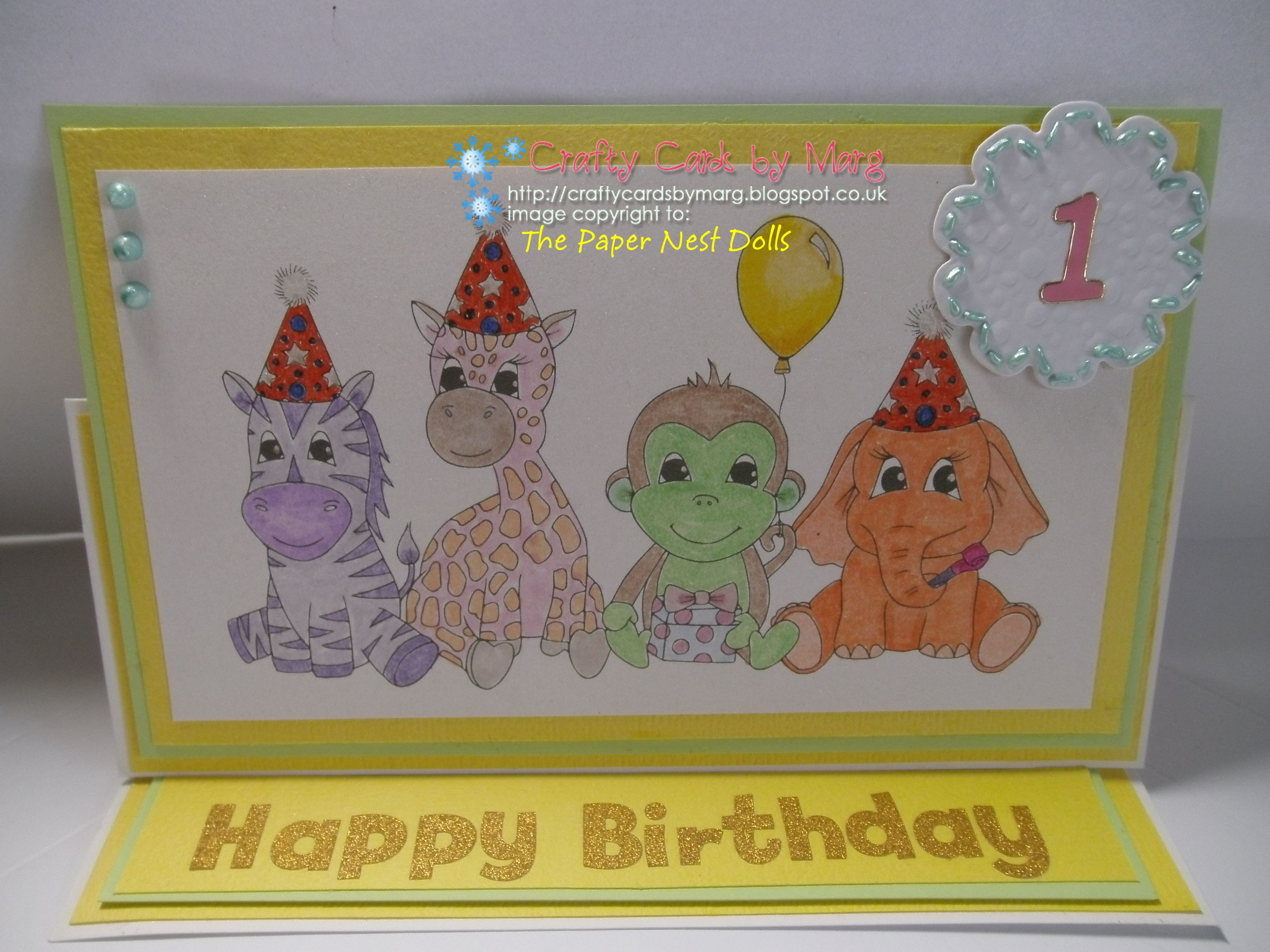 A 1st Birthday card using a digi stamp from The Paper Nest Dolls (photo 1 of 2)
