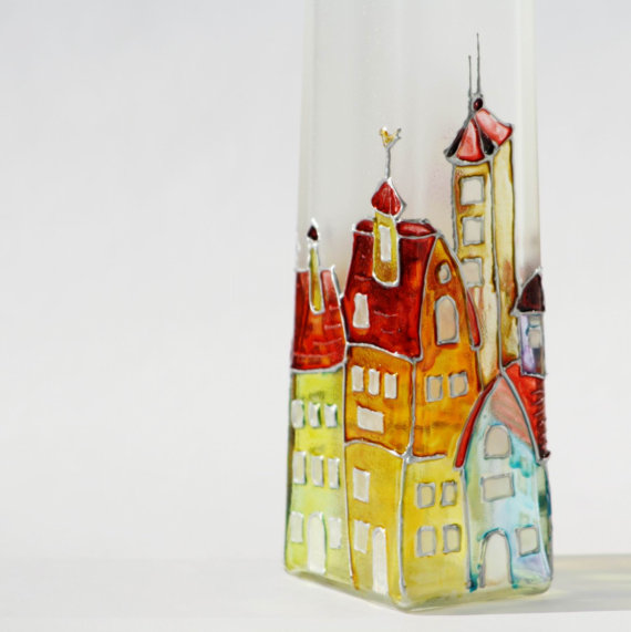 Hand painted bottle - stain glass cityscape