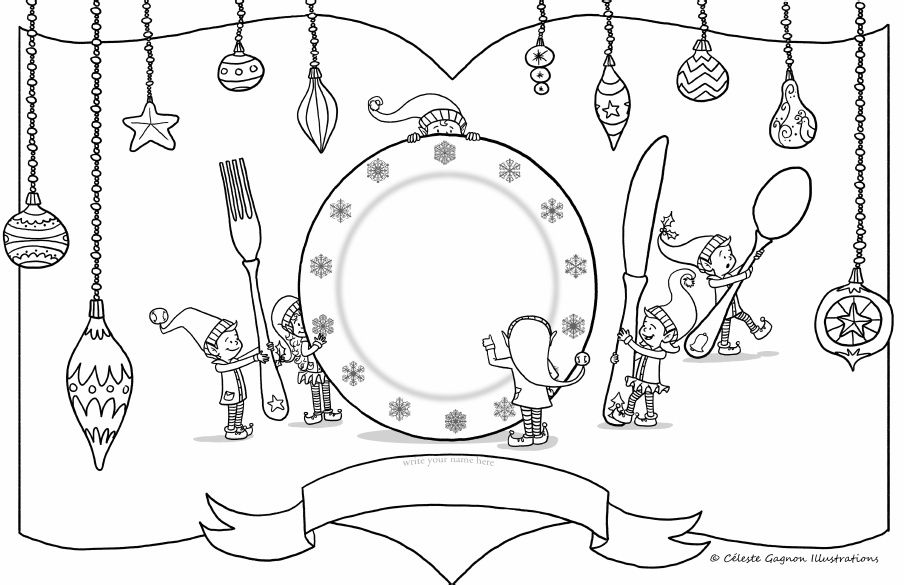 Elf Place Setting 11x17 Colouring Page Kerst Kerst Knutselen