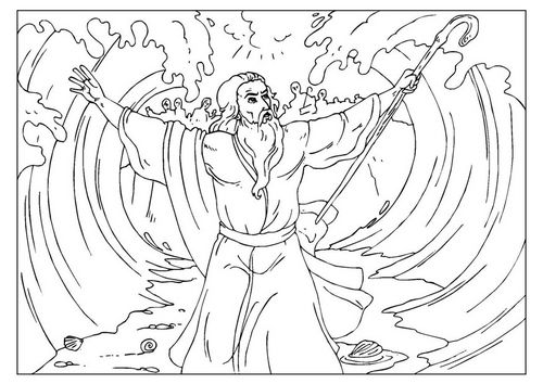 Coloring page Moses parts the Red Sea | bible | Pinterest | Temas ...
