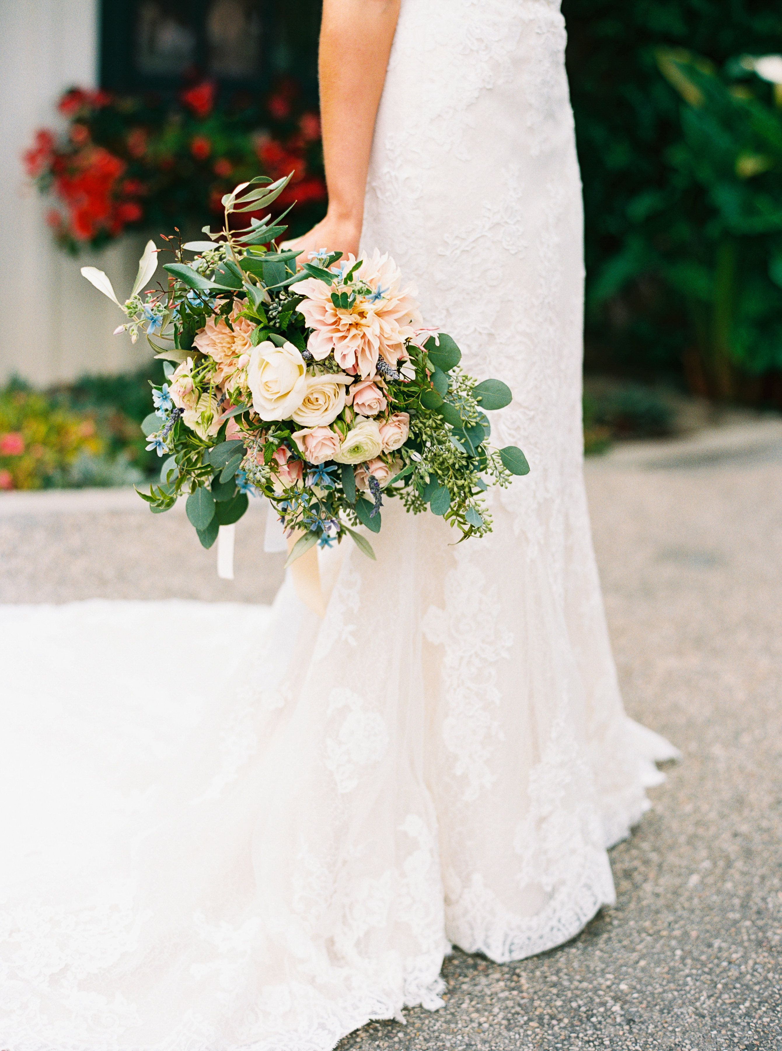 Bohemian Bridal Bouquet With Roses Peonies Spray Roses Lavender