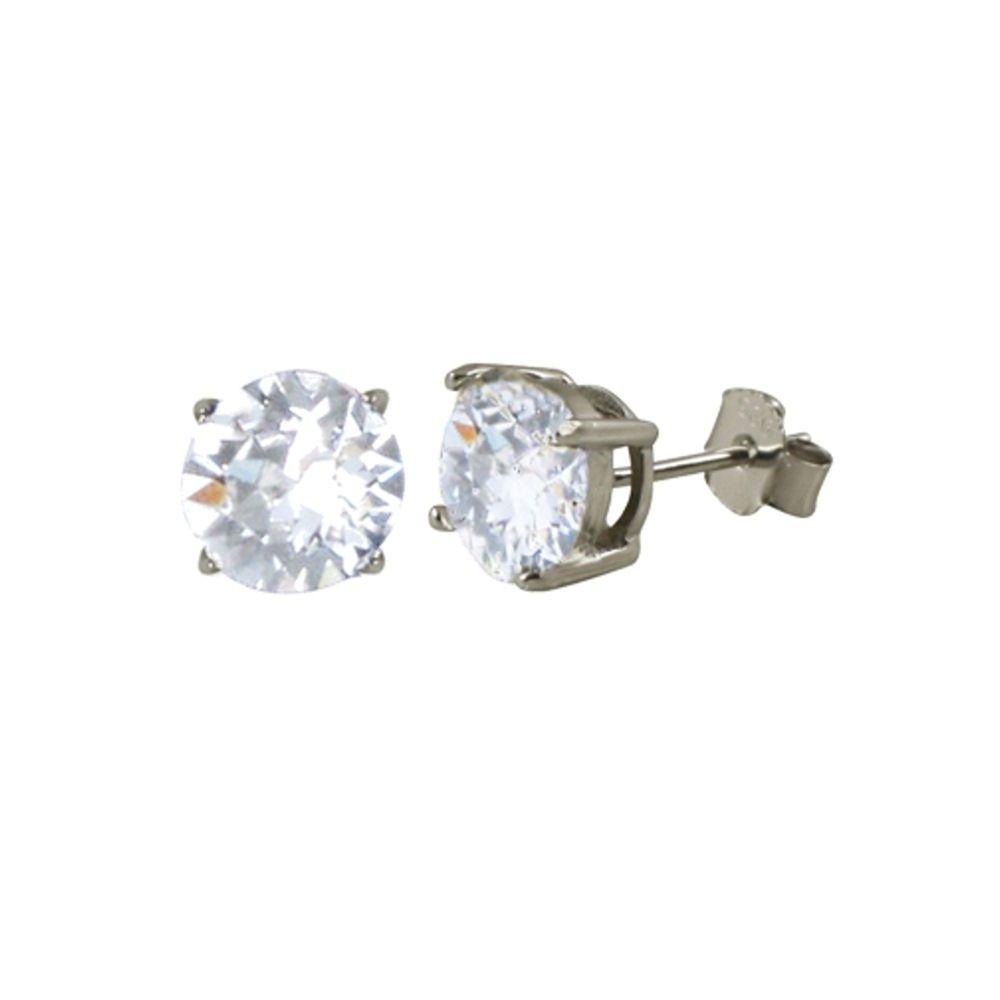 Starlet Sterling Silver Clear Swarovski Crystal Solitaire Stud Earrings