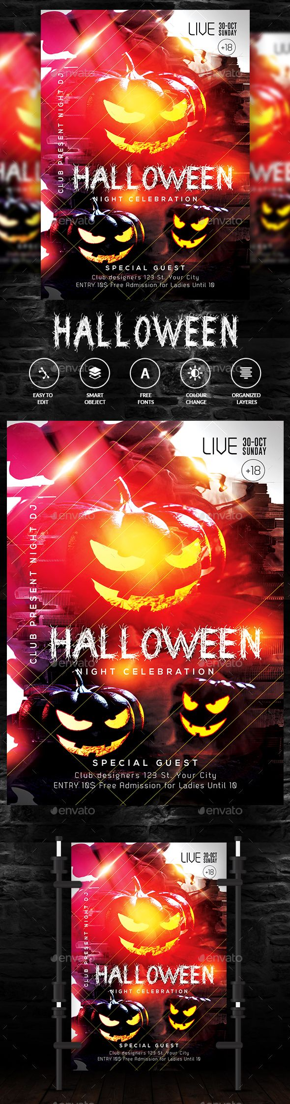halloween halloween club flyer template and template
