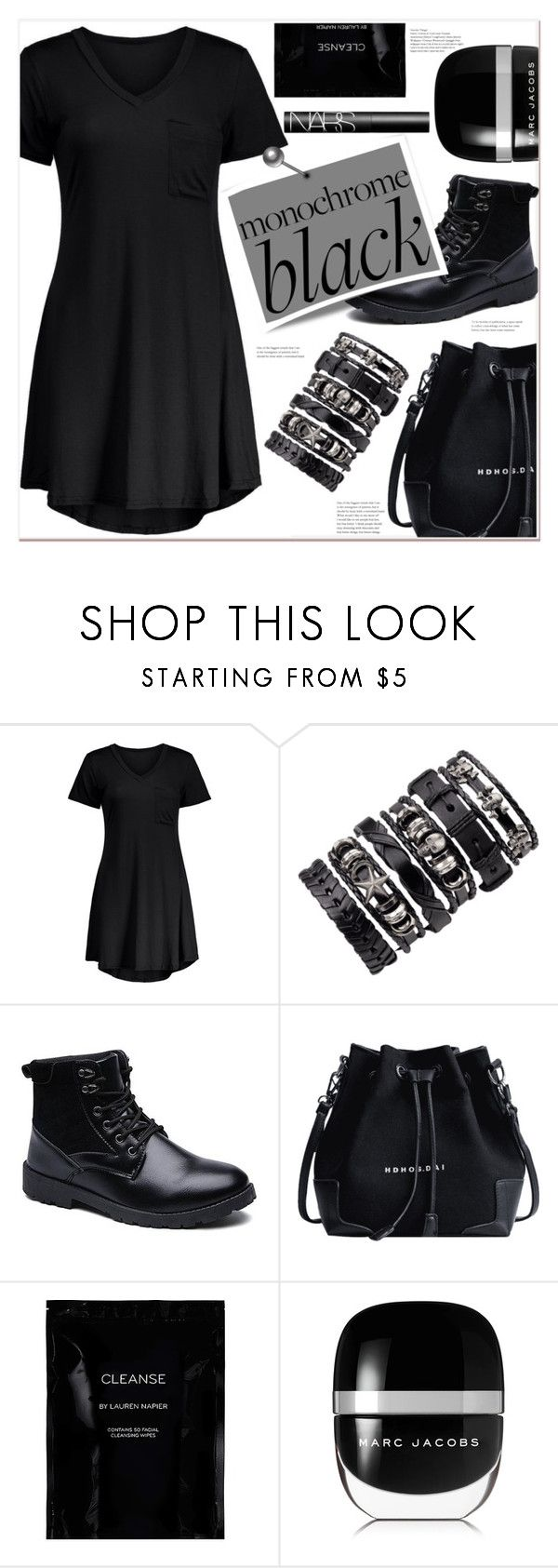"""""""black"""" by mycherryblossom ❤ liked on Polyvore featuring Cleanse by Lauren Napier, Marc Jacobs and NARS Cosmetics"""