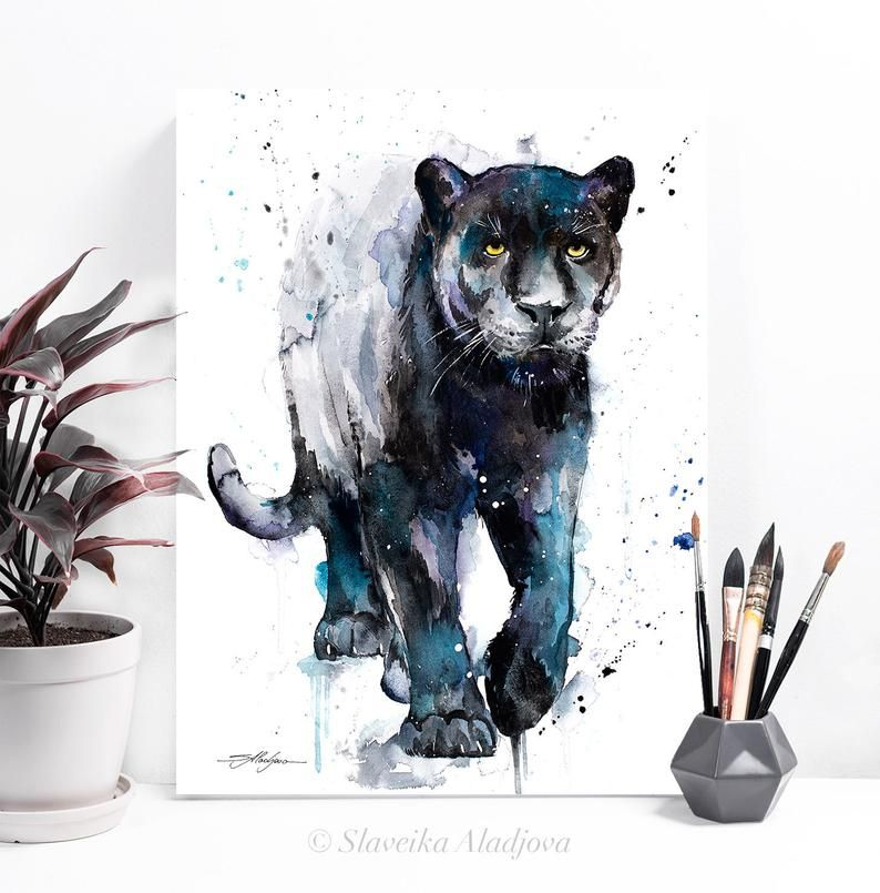 Jaguar Growling Panther Canvas Art Print By: Black Panther Watercolor Painting Print By Slaveika