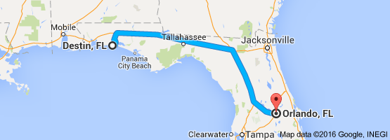 Map From Destin Fl To Orlando