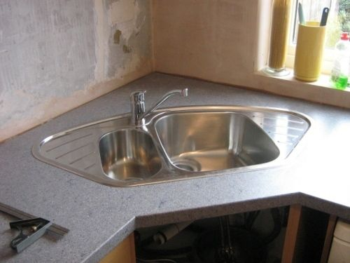 Corner Kitchen Sink Ideas With A Simple Cabinet Corner Sink Kitchen Corner Sink Kitchen Sink Design