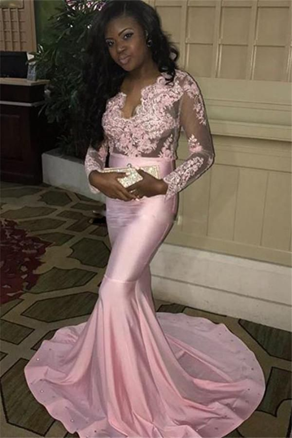 3c571f7c09 Lace-Appliques Pink Mermaid V-neck Long-Sleeves Long Sweep-Train Evening  Dress MT20184898