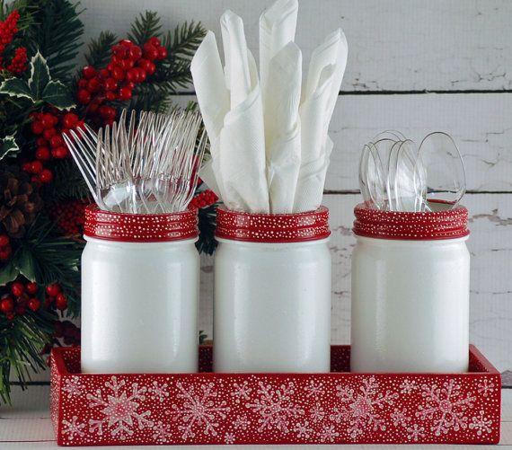Christmas Mason Jar Caddy Utensil Holder Red And White Snowflakes Hand Painted Mason Jar Christmas Gifts Christmas Mason Jars Jar Gifts