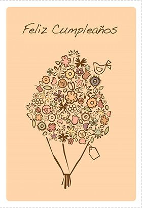 """""""Bouquet De Cumpleaños"""" printable card. Customize, add text and photos. print for free!"""