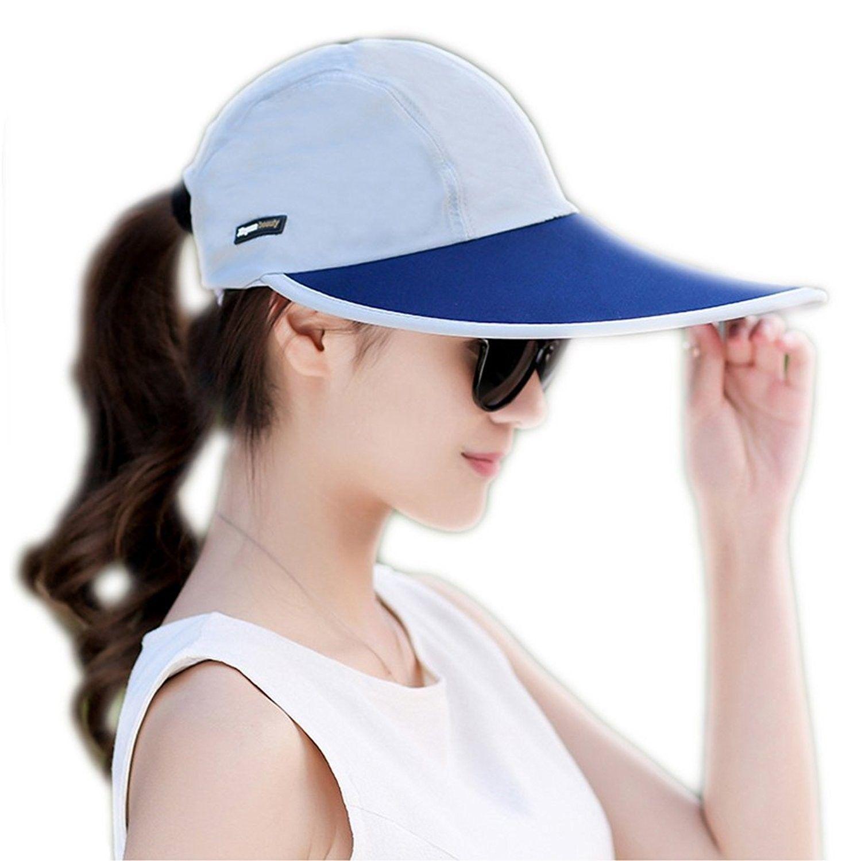 Outdoor Recreation Sports Anti UV UPF 50+ Sun Hat Wide Brim Baseball Cap  Large Sun Visor - Blue - CS184Z934K3 - Hats   Caps b4315f593f7