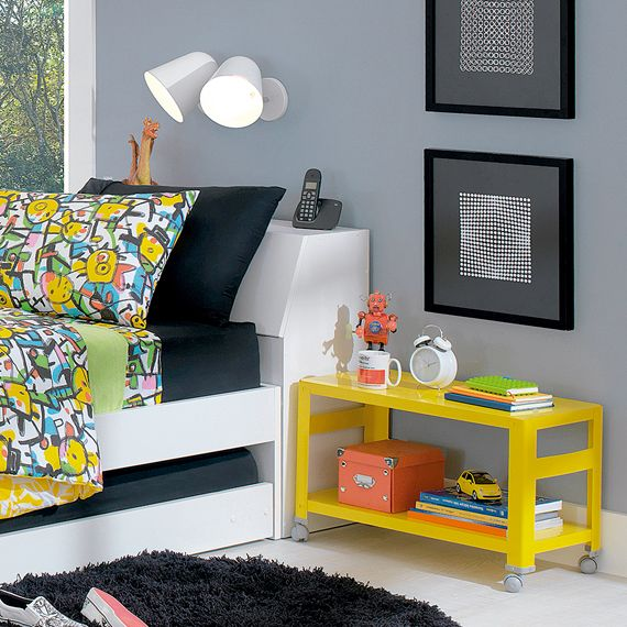 Side table for living room? Cute pop of colour. Use boxes/baskets as storage underneath STEEL RACK 70X33 - Tok&Stok