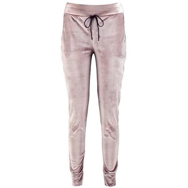 Boohoo Una Velvet Pocket Side Joggers ($24) ❤ liked on Polyvore featuring activewear and activewear pants